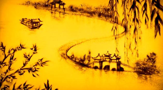 沙画:寻美——烟花三月下扬州