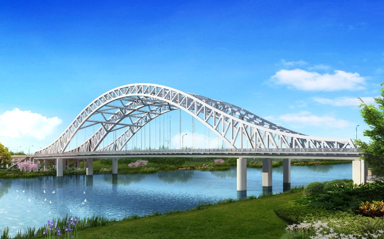 跨京杭运河大桥开始钢结构主体施工
